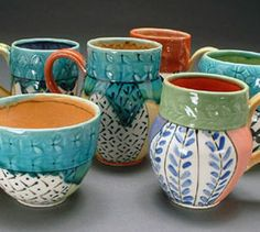 Kirsten Bassion ceramics, pottery for sale at MudFire Gallery for clay...quilt-inspired oxidation-fired cone 6 porcelain