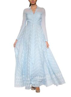 Stylish Sky Blue Voluminous Gown by Anita Dongre - Indian Designers | Indian Clothes | Gowns