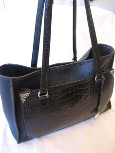 Brighton Vintage Black Pebble Leather and Faux Croc by CLASSYBAG