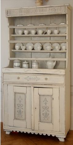 White Floral Motif Country Dresser