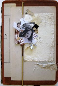 """""""21"""" - Random Stacks series (Found paper, book page on book cover with """"random stack"""" collage stitched.)"""