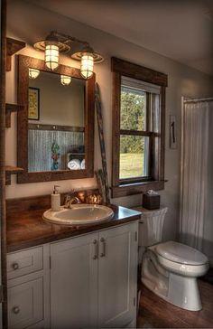 Window trim great for a rustic bathroom. Bathroom Renovations, Home Remodeling, Bathroom Ideas, Bathroom Showrooms, Bathroom Designs, Rustic Bathroom Lighting, Laundry In Bathroom, Small Bathroom, Bathroom Showers