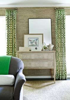 Gorgeous vignette with vintage chest console table, mirror, lacquer jewelry box, gold grasscloth wallpaper, Kelly Wearstler Imperial Trellis fabric in Trelliage/Ivory window panels and sisal rug Decor, Green Curtains, Room, Custom Drapes, Interior, Home Decor, Room Inspiration, Melanie Turner Interiors, Interior Design