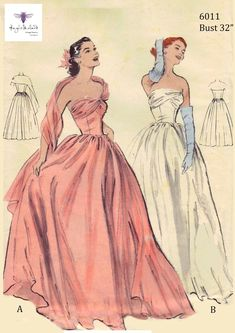 Vintage Sewing Pattern Ball Gown Prom Dress Bridal Gown Bust - - Vintage Sewing Pattern Ball Gown Prom Dress Bridal Gown Bust Source by 50s Prom Dresses, 1950s Prom Dress, Bridal Dresses, Quince Dresses, Quinceanera Dresses, 15 Dresses, Fashion Dresses, Bridesmaid Dresses, Vintage Ball Gowns