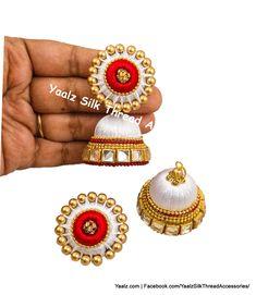 Yaalz Silk Thread Big Stud Jhumka Earrings With Kundan Work In White & Gold Colors Silk Thread Earrings Designs, Silk Thread Bangles Design, Silk Bangles, Jewelry Design Earrings, Thread Jewellery, Red Earrings, Bridal Jewellery, Diy Jewelry, Jewelry Making