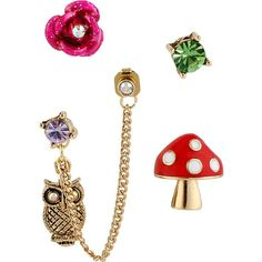 Betsey Johnson Enchanted Mushroom 5 Stud Set ($28) ❤ liked on Polyvore featuring jewelry, earrings, multi, stud earrings, crystal flower stud earrings, chain earrings, post back earring and owl stud earrings