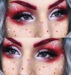 If you want to be fashionable this Christmas 2018 and the year 2019 entry, then check the latest trends of Christmas makeup looks and highlight your beauty. Christmas Makeup Look, Holiday Makeup Looks, Makeup Eye Looks, Eye Makeup Art, Colorful Eye Makeup, Crazy Makeup, Cute Makeup, Eyeshadow Makeup, Christmas Nails