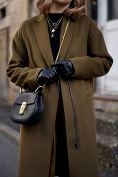 More on www.offwhiteswan.com  Khaki Wool Coat by Zara, Velvet Trend Yellow Pants by Zara, Samttrend, Black Chloé Drew Bag small, Winter Streetstyle, Fashion #swantjesoemmer #offwhiteswan