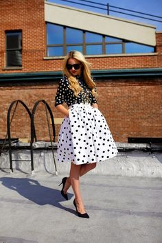 Polka Dot Game Outfit by Atlantic - Pacific Skirt Outfits, Dress Skirt, Midi Skirt, Dress Up, Looks Street Style, Vintage Mode, Look Chic, Inspired Outfits, Mode Inspiration