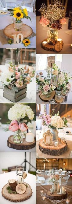 wood themed wedding centerpieces for rustic wedding ideas 2017 trends #ThemedWeddings
