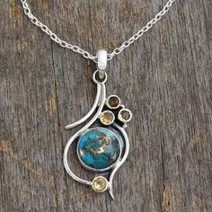 "$69.00 17"" chan composite turquoise Citrine pendant necklace, 'Golden Sky' - .925 Silver Necklace with Citrine and Composite Turquoise"
