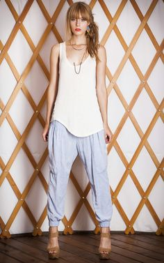 #THEODELLS Slouch Pant Light #Chambray + Slanted #Striped Tank #spring #fashion