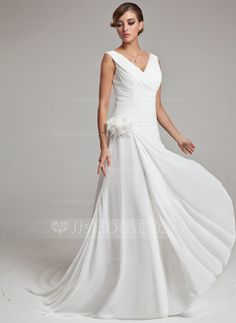 Wedding Dresses - $165.99 - A-Line/Princess V-neck Court Train Chiffon Wedding Dress With Ruffle Feather Flower(s) (002011459) http://jjshouse.com/A-Line-Princess-V-Neck-Court-Train-Chiffon-Wedding-Dress-With-Ruffle-Feather-Flower-S-002011459-g11459