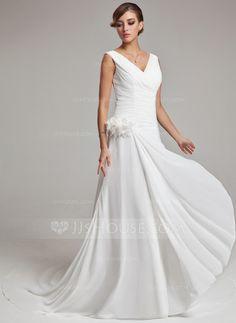 Wedding Dresses - $165.99 - A-Line/Princess V-neck Court Train Chiffon Wedding Dress With Ruffle Feather Flower(s) (002011459) http://jjshouse.com/A-Line-Princess-V-Neck-Court-Train-Chiffon-Wedding-Dress-With-Ruffle-Feather-Flower-S-002011459-g11459
