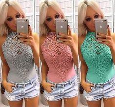 21ac8d769597 Women Lace Leotard T-shirt Bodysuit. Lace LeotardLeotard TopsLace RomperLace  BodysuitPlaysuitTypeRompersElegant JumpsuitSlim