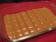 Six Minute Caramels~ MICROWAVE!  Ingredients 1/4 cup butter 1/2 cup white sugar 1/2 cup brown sugar 1/2 cup light Karo syrup 1/2 cup sweetened condensed milk Directions:  1 Combine all ingredients. 2 Cook 6 minutes, stirring every two minutes. 3 Stir and pour into lightly greased dish. 4 Let cool. 5 Cut, wrap in wax paper & store in an air tight container.