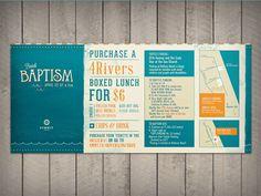 Graphic Design - Beach Baptism Spring 2012 by Evan Travelstead, via Behance Brochure Design, Flyer Design, Branding Design, Layout Inspiration, Graphic Design Inspiration, Design Ideas, Layout Design, Church Logo, Book Layout