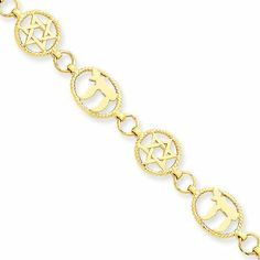 14 Karat Yellow Gold Chai & Star of David Bracelet - 7 Inch The Black Bow. $903.00. Polished and textured finish. Crafted from 14 karat yellow gold. Features lobster clasp closure. Average weight is 6.7 grams. Save 60%!