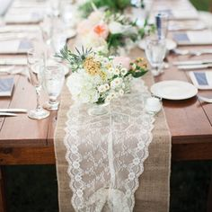 94 best burlap & lace table runner images on Pinterest | Burlap ...