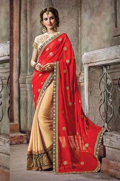 Red  Satin Wedding Saree