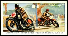 "https://flic.kr/p/7r9jES | Cigarette Card - Isle of Man Lightweight TT, 1931 | Ogden's Cigarettes ""Motor Races 1931"" (series of 50 with artwork by Roland Davies) #37 Lightweight Motor-Cycle TT June 17. Won on the Isle of Man circuit by Graham Walker on his Rudge at an average speed of 68.26mph."