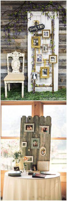 Family Tree photo display wedding decor / http://www.himisspuff.com/ideas-to-display-wedding-photos/ #weddingdecoration
