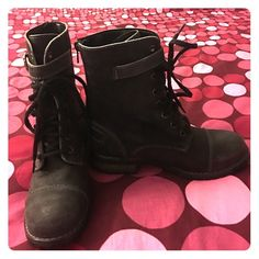 Skechers Black Lace Up Boots These are brand new boots! Never worn! They do have a worn look to them, but that is part of the design. The lace all the way up and have a strap that come across the laces and buckles at the side. They zip up at the back and have about a 1 inch heel. These were a gift but they did not fit me well. Any questions let me know! Skechers Shoes Lace Up Boots