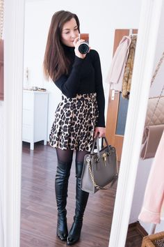 Leopard shorts by Zara, black turtleneck sweater, black overknee boots. The Fashion Rose http://www.thefashionrose.com/2017/01/4-ways-to-style-leopard-shorts-for-winter.html