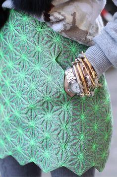 neon green pattered skirt