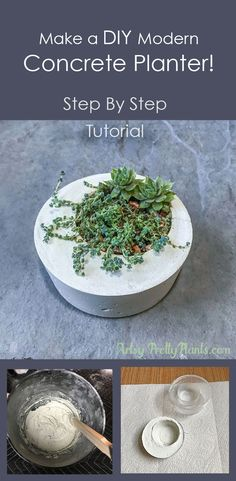 A step by step tutorial for making this Zen-style modern, minimalistic white concrete planter. Plant with succulents or your favorite plants. Easy directions with photos. Indoor/Outdoor planter. #planters #moderndecor   From ArtsyPrettyPlants.com