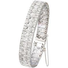 Pre-owned French Art Deco Diamond and Platinum Filigree Line Bracelet ($25,000) via Polyvore