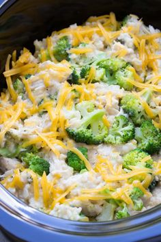 Best Ever Cheesy Slow Cooker Chicken Broccoli and Rice Casserole! Only 10 minutes prep time! | www.kristineskitchenblog.com