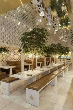 Gorgeous Restaurant's Green and Natural Interior Design. Natural interior design applied in this one of the walls of this restaurant is decorated with unique and eye-catching lined plant pots. The use of gre. Small Restaurant Design, Decoration Restaurant, Bar Restaurant Design, Deco Restaurant, Restaurant Seating, Luxury Restaurant, Restaurant Restaurant, Restaurant Lighting, Tree Interior