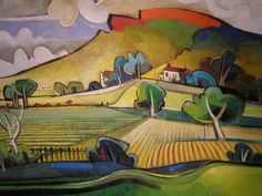 Geoffrey Key Hills and Ploughed Fields  Art Painting