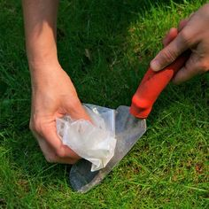 Cleaning gardening tools with wax paper not only helps loosen grime, the wax coats the metal to help prevent rust. Great tip!