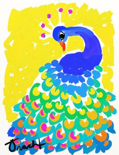 Free Shipping 11x14 Blue and Yellow Peacock artist Kelly Tracht Giclee Print on 100% Cotton Rag Paper, various sizes available