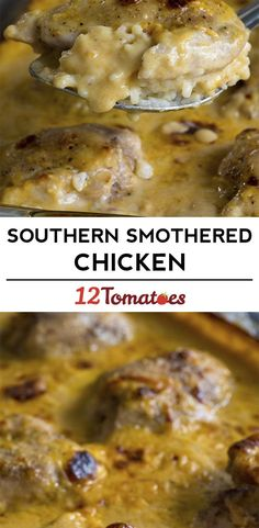 Creamy Southern Smothered Chicken- Gonna try to do this with cream cheese instead of the soups for a reduced carb option, cauliflower or broccoli florets instead of rice Turkey Recipes, Chicken Recipes, Chicken Meals, Chicken Rice, White Chicken, Garlic Chicken, Baked Chicken, Food Dishes, Main Dishes