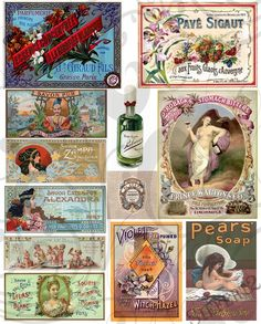 Old Perfume Labels Collage Sheet 2ac