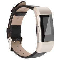 AK Fitbit Charge 2 Leather Band Replacement Luxury Genuine Leather Band Strap for Fitbit Charge 2 Black with Metal Clasp -- ** AMAZON BEST BUY **