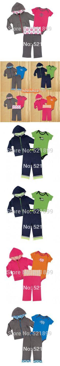 3 pcs / lot Luvable Friends Long Sleeve Winter Baby Romper 100% Cotton Newborn Baby Clothing Set Toddler 0-24 Month Infant Suit