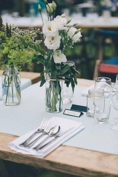 Garden Wedding Table Decor. See more here: Love Filled Outdoor Garden Wedding, Cornwall | Confetti Daydreams ♥  ♥  ♥ LIKE US ON FB: www.facebook.com/confettidaydreams  ♥  ♥  ♥ #Wedding #GardenWedding #OutdoorWedding #RealBride