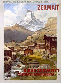 a vintage tourism-ad for Zermatt/Switzerland