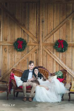 Christmas Winter barn wedding.  bride & groom on our Audie brown sofa.  We love all the lovely winter touches they used for their special day.  From vintage lounge areas with plaid to antlers and greenery to lawn games.  Photos by Trisha Kay Photography. from rentmydust.com