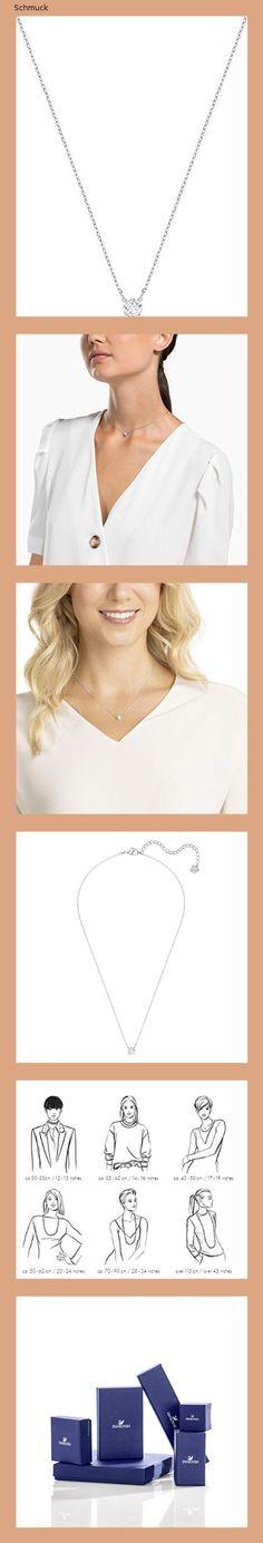 Swarovski Attract Round Halskette, Rhodinierte Damenhalskette mit Weißem, Funkelndem Swarovski Kristall - 14ni Swarovski, Crystals, Neck Chain, Schmuck