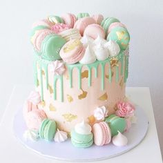 Pink , mint & gold macaron cake off to a baby shower