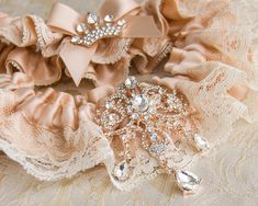 Rose Gold Bridal Garter Set, Ivory Lace Wedding Garter Set, Rose Gold Bridal Garter, Wedding Garter, Rose Gold Garter, Rhinestone Garter Our goal is to provide highest quality bridal accessories for your Big Day! We do not use glue to make our garters, we carefully hand-stitch lace and
