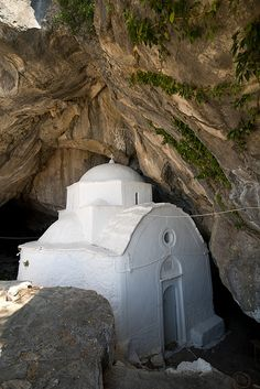 Chapel Panaghia Makrini in cave on Kerkis Samos, Greece