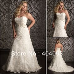 Aliexpress.com : Buy High Quality A line Sweetheart neckline Free Shipping Chapel Train Lace Plus Size Wedding Gown 2013 New EG1227 from Reliable plus size wedding gown suppliers on Romance's store $245.90