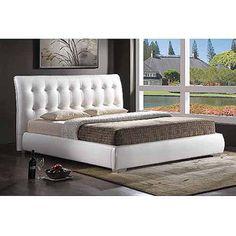 Baxton Studio Jeslyn King Modern Bed with Tufted Headboard, White