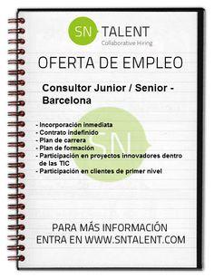 #Empleo Consultor Junior / Senior en #Barcelona